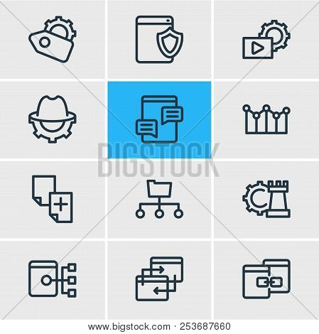 Vector Illustration Of 12 Advertisement Icons Line Style. Editable Set Of Seo Whitehat, Adwords Camp