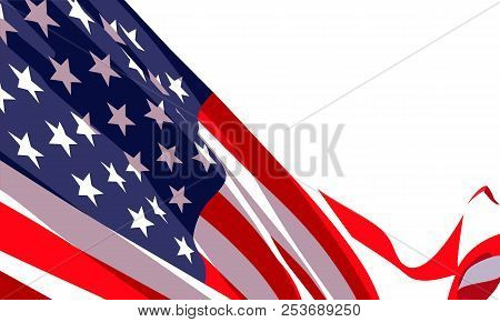 Background With Waving American Flag On White Background.vector Template For Usa Patriotic Holidays