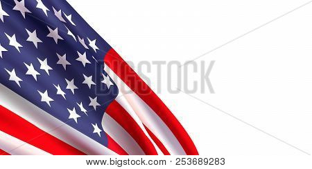 Background With Realistic Waving American Flag On White Background.vector Template For Usa Patriotic