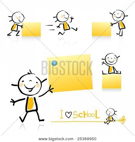 children hand-drawing style educational icon set. Cute girl character series, grouped and layered for easy editing. See similar in my portfolio
