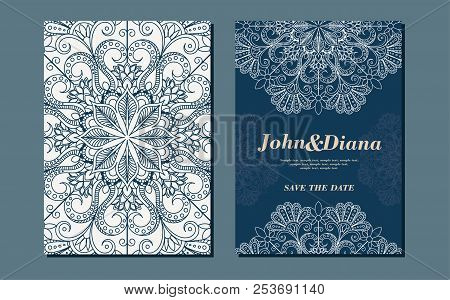 Wedding Invitation Cards In An Vintage-style Blue And Beige. Beautiful Victorian Ornament. Frame Wit
