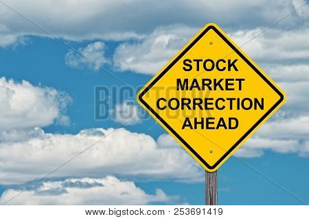 Stock Market Correction Ahead Caution Sign Blue Sky Background