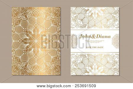 Save The Date Invitation Card Design In Henna Tattoo Style. Decorative Mandala For Print, Poster, Co
