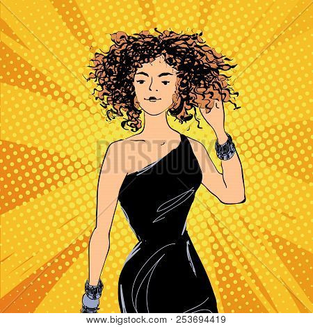 Vector Pretty Jazz Style Woman In A Black Dress With Curly Hair, Comics Style Fashion Illustration.
