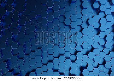 3d Illustration Abstract Dark Blue Of Futuristic Surface Hexagon Pattern. Blue Geometric Hexagonal A