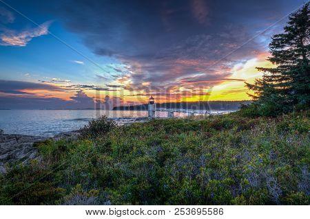 Marshall Point Lighthouse And Coast - Port Clyde, Maine, Usa