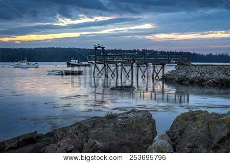 Lobster Boats And Dock In Early Morning Light - Maine, Usa
