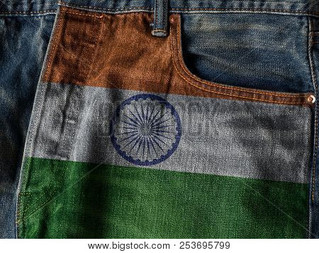Republic Of India Flag On Jeans Denim Texture With Pride Word. The Concept Of India National Flag On