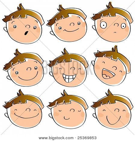 funny cartoon kid's faces having different expressions. See line art version in my portfolio
