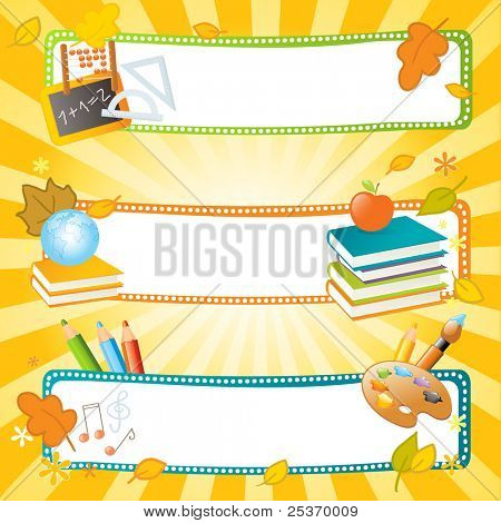 back to school vector banners, educational theme
