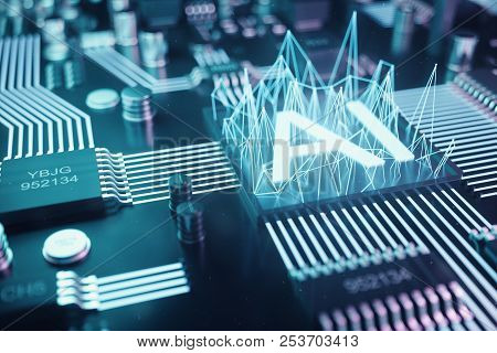 3d Illustration Abstract Artificial Intelligence On A Printed Circuit Board. Technology And Engineer