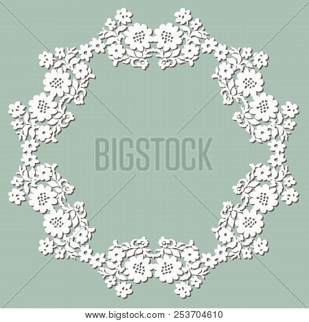 Handmade lace doily. Beautiful elegant vintage knitted lacy napkin. Wedding table decoration or invitation concept. Round lace pattern. Decorative element, EPS 8. poster