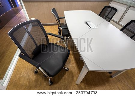 Meeting Table And Black Hairs In Meeting Room, Conference Room