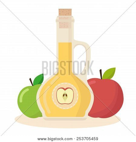 Apple Cider Vinegar Vector Flat Icon. Isolated Bottle Of Vinegar With Apples On White Background. Ve