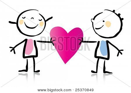 Valentine's Day cartoon romantic couple in love holding heart, children's drawing style series. see more images related