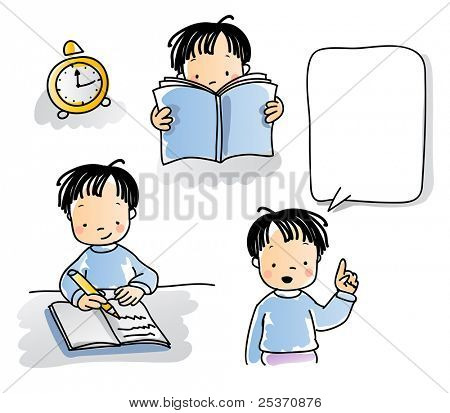 school kids series, cartoon little boy reading, writing, talking, watercolor style. grouped and layered for easy editing