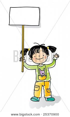 school girl holding blank sign, cartoon kids watercolor style series. grouped and layered for easy editing