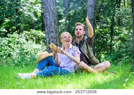 Romantic Couple Students Enjoy Leisure Looking Upwards Observing Nature Background. Couple In Love S