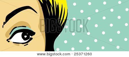 woman eye peeking, face expression close up, retro style