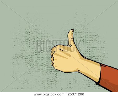 hand, thumbs up gesture illustration