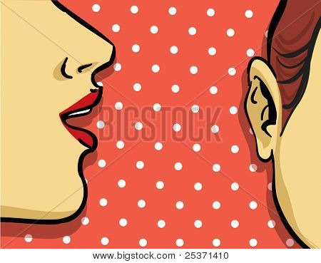 woman gossip retro illustration, polka dots background