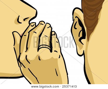 hand gesture of woman gossiping, vector drawing
