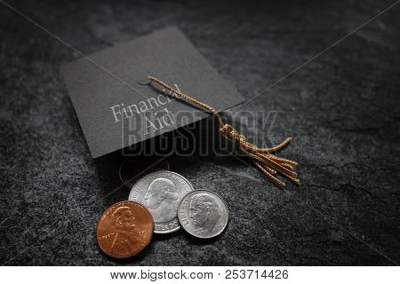 Miniature Financial Aid Graduation Cap With Assorted Coins