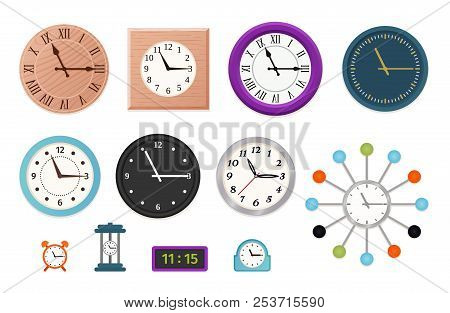 Wall Clock. Vector. Set Wall, Table And Alarm Clocks Isolated On White Background. Colorful Cartoon