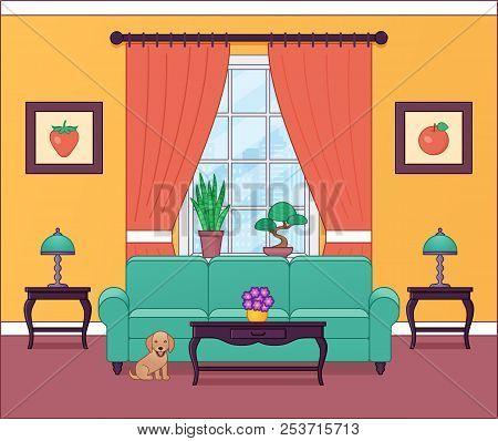 Living Room Interior. Vector Illustration. Outline Home Flat Design With Furniture, Window, Dog. Car