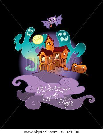 Halloween wenskaart cartoon spook huis