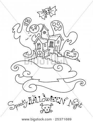 Halloween geest huis kleurplaat