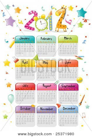 new year 2012 colorful calendar for kids