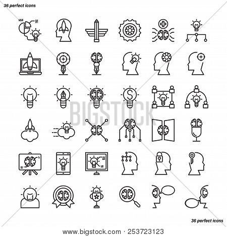 Creative And Design Outline Icons Perfect Pixel. Use For Website, Template,package, Platform. Concep