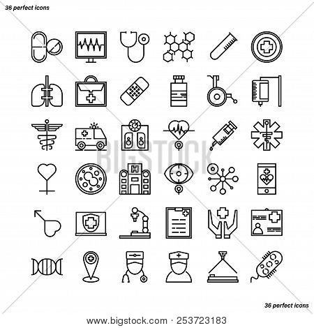 Medical And Healthcare Outline Icons Perfect Pixel. Use For Website, Template,package, Platform. Con