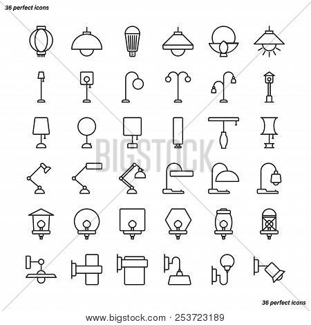 Lamp Outline Icons Perfect Pixel. Use For Website, Template,package, Platform. Concept Business Obje