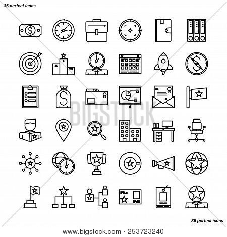 Business Management Outline Icons Perfect Pixel. Use For Website, Template,package, Platform. Concep