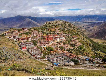 Tibetan Ganden Buddhist Monastery Lies In A Hilly Natural Amphitheater Mountains And Dramatic Views