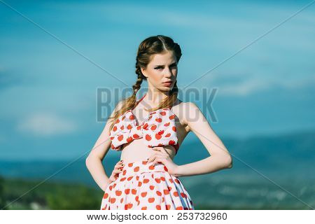 Fresh Concept. Woman With Fresh Face Relax On Summer Nature. Pretty Girl On Fresh Air. Fresh And Fre