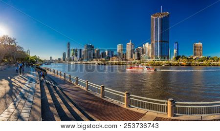 BRISBANE, AUSTRALIA AUG 12 2018: Panoramic view of Brisbane from South Bank over the river. Brisbane is the capital of QLD and the third largest city in Australia.
