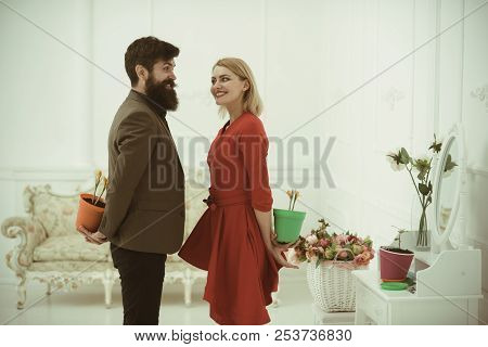 Holiday Concept. Happy Family Celebrate Holiday With Flower Surprise. Holiday Celebration. Spring Ho