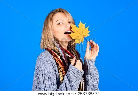 Autumn. Sexy Woman With Maple Leaves. Autumn Mood. Sensual Woman With Autumn Leaf. Yellow Maple Leaf