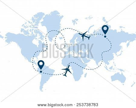Airplane Round-trip Line Path Vector Icon Of Air Plane Flight Route With Start Point And Destination