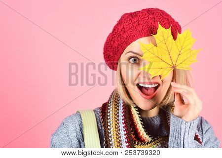 Autumn Mood. Autumn Time. Pretty Woman With Autumn Yellow Maple Leaf. Autumn Fashion. Portrait Of Sm