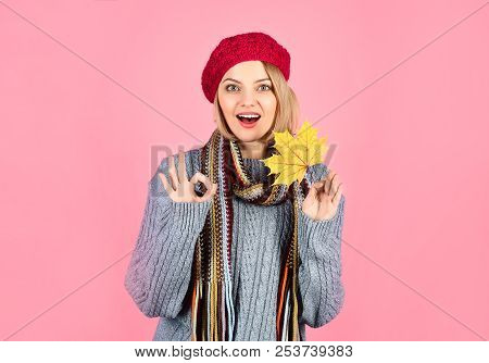 Autumn. Surprised Woman With Maple Leaf. Smiling Woman With Autumn Leaf Shows Sign Ok. Yellow Maple