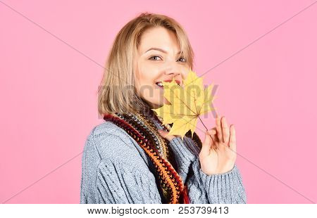 Autumn. Sensual Woman With Maple Leaf. Woman With Autumn Leaf. Yellow Maple Leaf. Sexy Woman Holds M