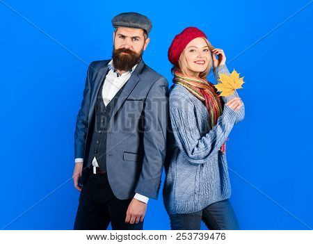 Autumn. Stylish Couple In Warm Clothes. Bearded Man Standing With Girlfriend. Woman In Warm Clothes