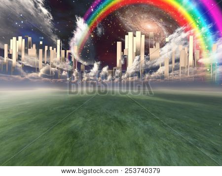 Heavenly City hovers in sky. Rainbow and Galaxy. 3D rendering
