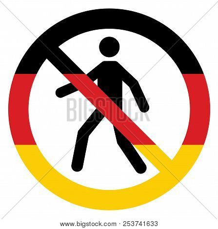 Vector Human Entry Forbidden Symbol Icon In Germany Flag Colors. Conceptual Image. German Government