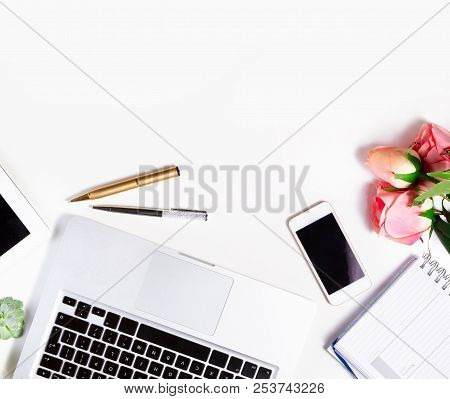 Feminine Workspace - Workspace With Keyboard, Phone And Flowers, Top View On White Background