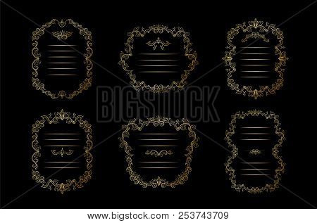 Golden Floral Borders, Frames Set With Place For Text. Copy Space And Dividers Or Flourishes. Italia
